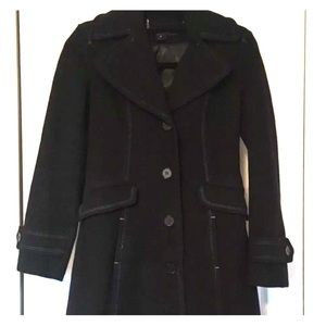 DKNY Wool Blend Button Down Trench Coat